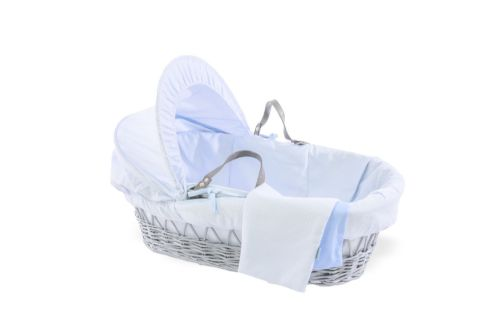 Wicker Moses Basket in Grey - Cotton Dream Blue